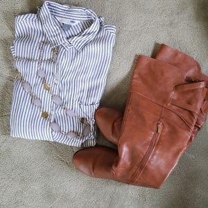 Old Navy classic L pinstrp shirt w/sz 8 boot/neckl
